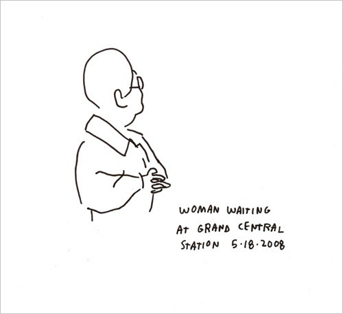Woman Waiting 5/18/2008  by Jason Polan | Ink on Paper