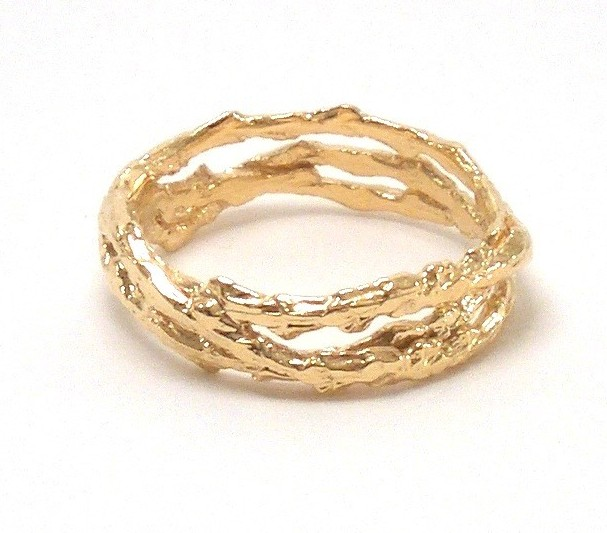 $680 TREE RING - 3 BAND designed with interlocking bands of our signature tree texture, evoking nature in a subtle way 18K yellow gold