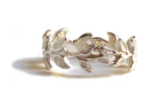 $80 VINE RING made from a curved laurel wreath forming a band that looks like delicate asymmetrical vine sterling silver