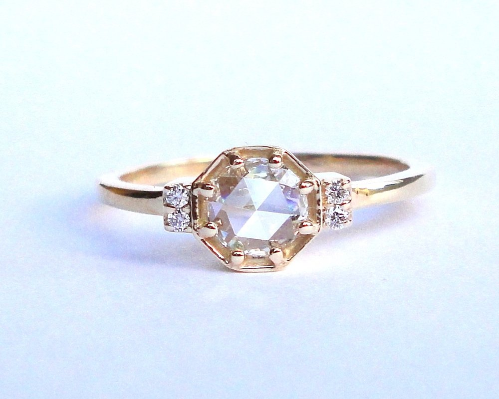 $1795 Rose Cut Diamond Octagon RING rose cut diamond ring, elegantly prong set in a gold octagon frame, accented with four round brilliant cut diamonds  14K yellow gold