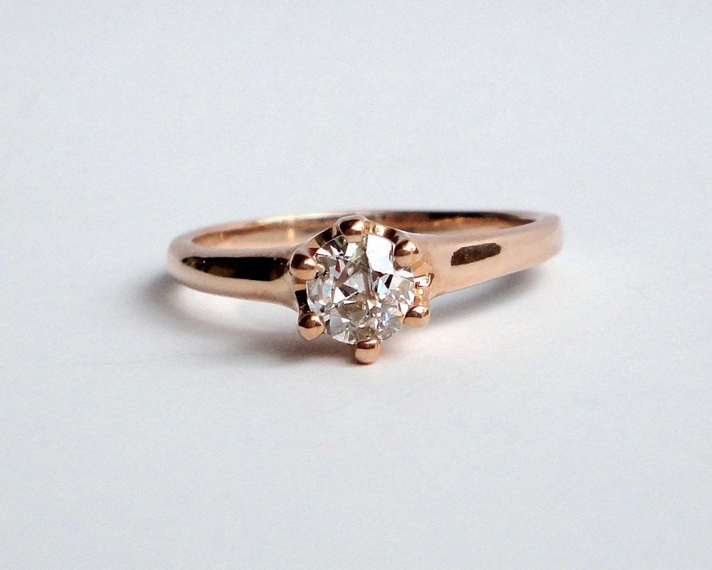 $975  Old European Cut Diamond Crown RING centering on a 0.41 ct old european cut diamond, beautifully set in a six-prong setting 10K rose gold