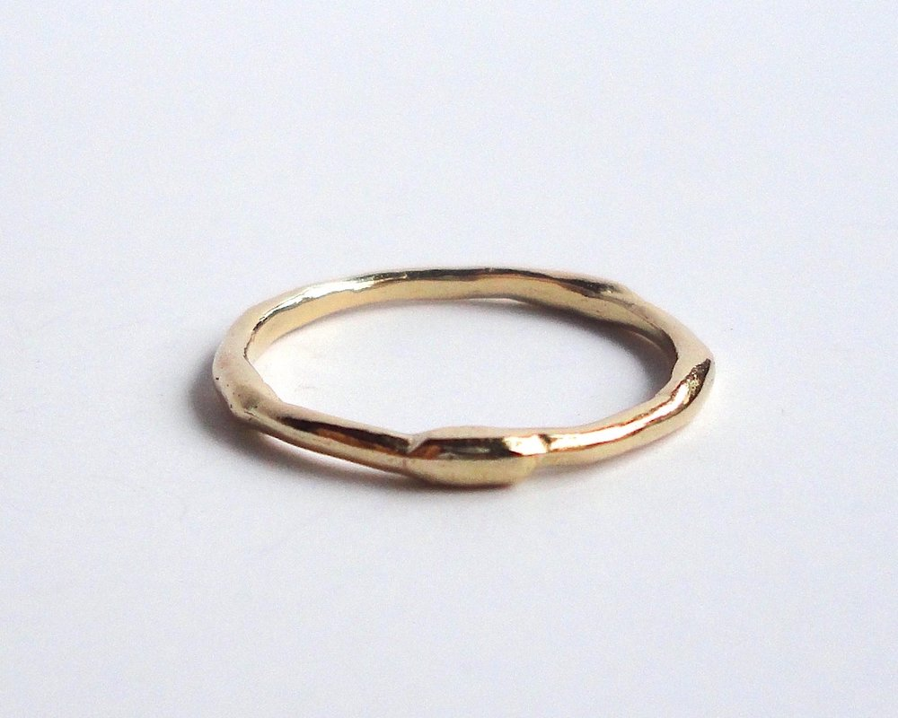 $260  Branch RING a simple, organic shaped branch textured band 14K yellow gold