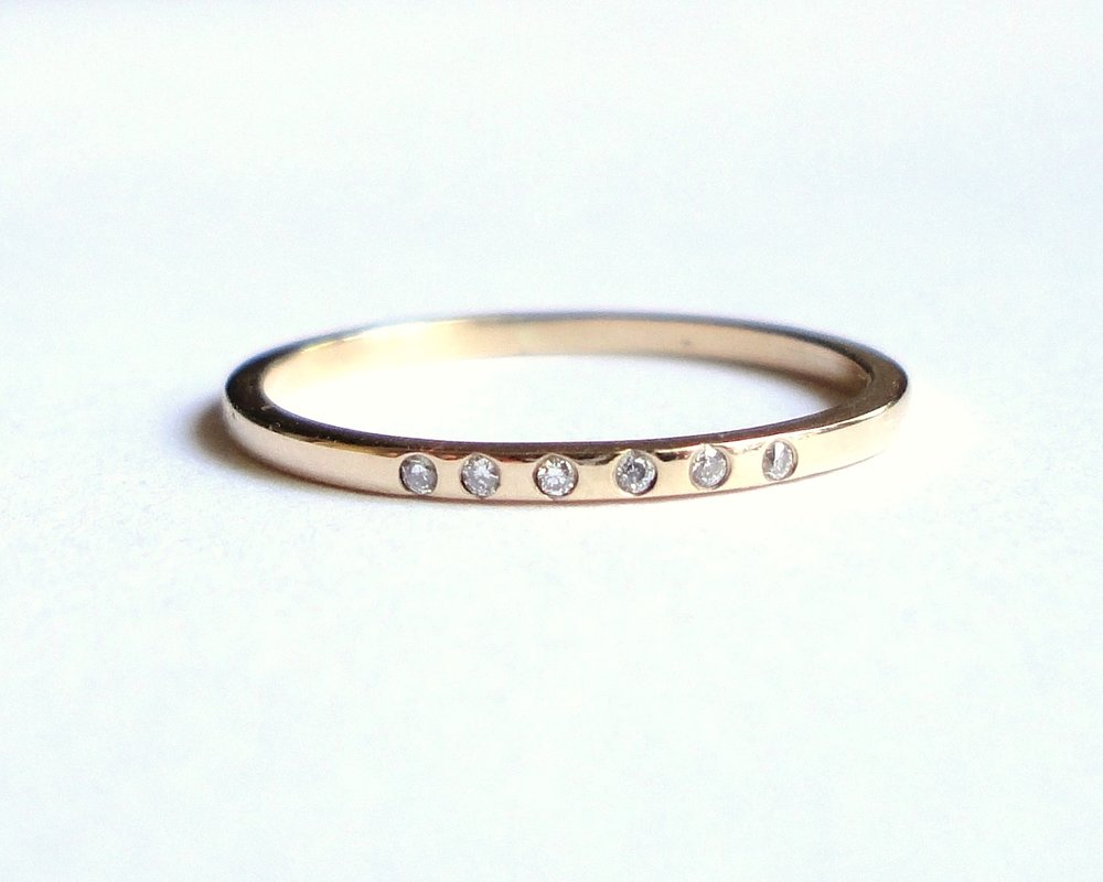 $420  Diamond and Gold Band  flat handmade recycled gold band set with six diamonds  14K yellow gold