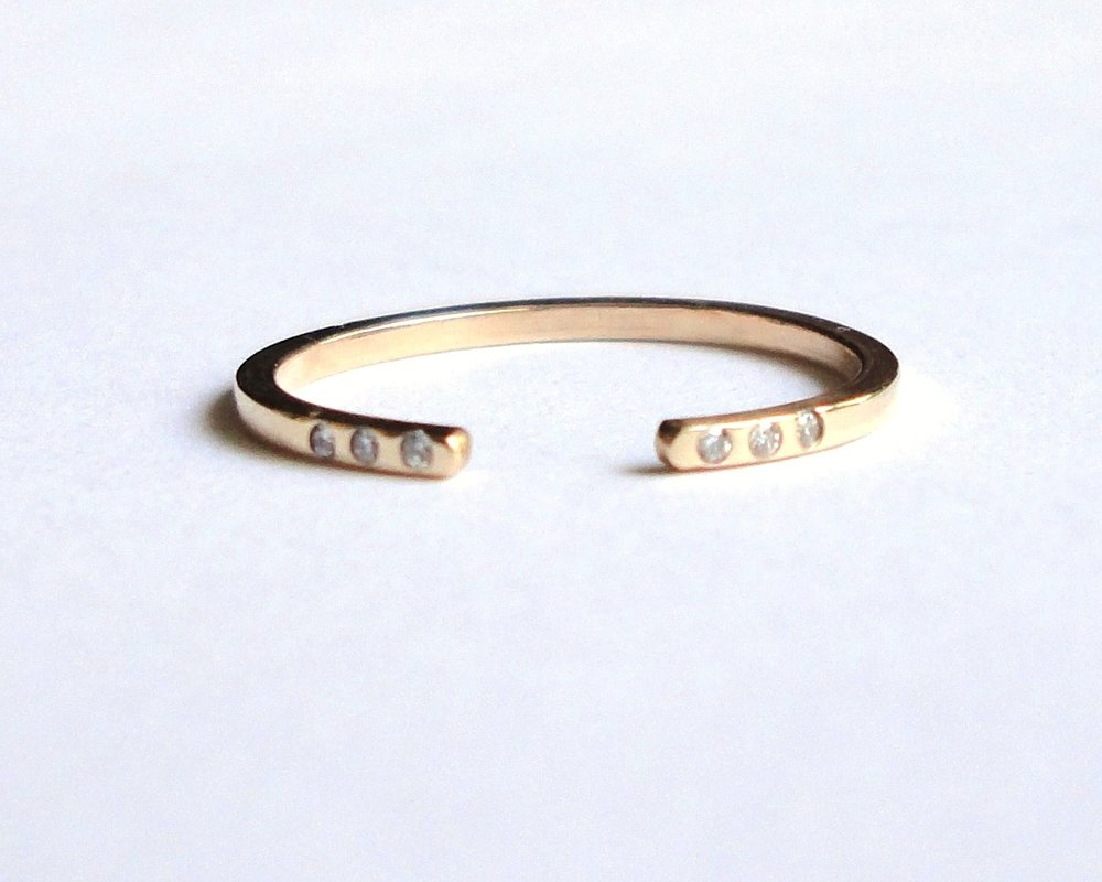 $420  Diamond and Gold Band  flat handmade recycled gold open band set with six diamonds  14K yellow gold