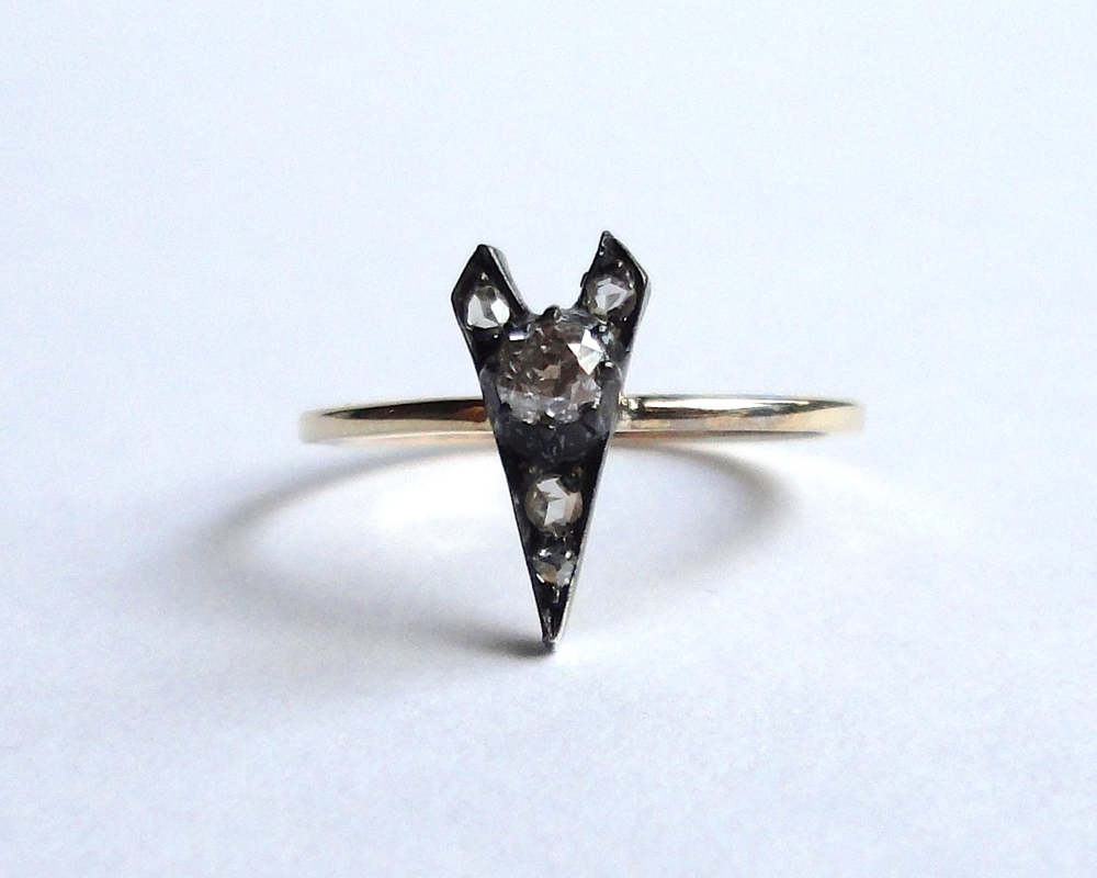 $490 Antique Old Mine Cut Diamond RING centering on an arrow shaped plaque, set with an old mine cut diamond and rose cut diamonds, finished with a flat, handmade recycled gold band  14K yellow gold & oxidized silver