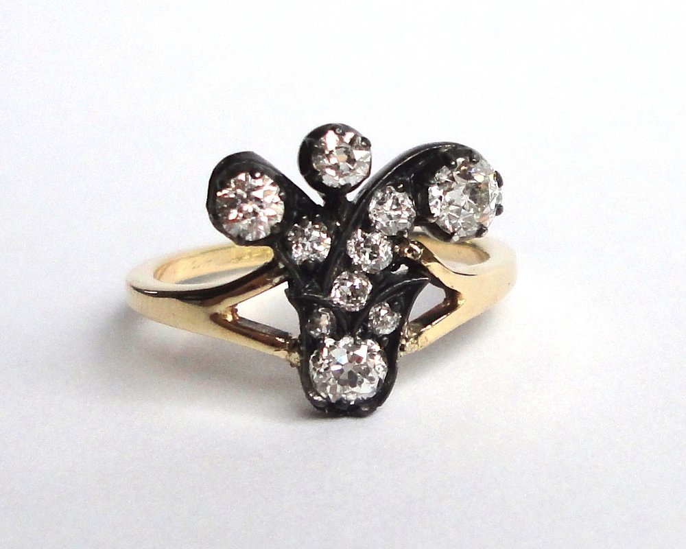 $1490 Antique Old Mine Cut Cluster Diamond RING centering on a floral cluster, set with old mine cut diamonds, finished with a flat, handmade recycled gold band  14K yellow gold & oxidized silver