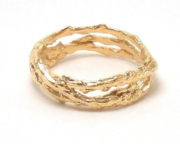 $650 Tree RING - 3 BAND designed with interlocking bands of our signature tree texture, evoking nature in a subtle way 18K yellow gold