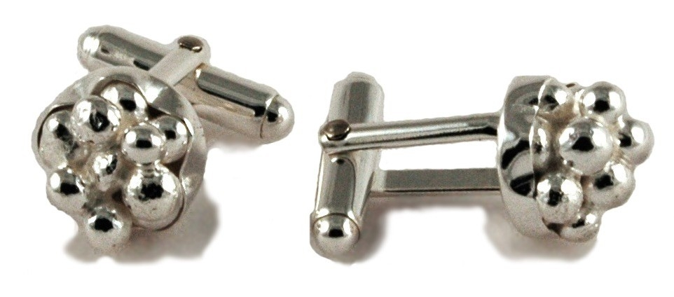 $320  CLUSTER CUFFLINK   made after our traditional cluster design, measures 13mm in diameter and has a polished finish  sterling silver