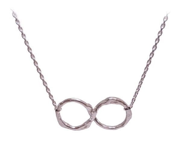 $120  INFINITY NECKLACE  part of the nishi branch collection, is a subtle necklace that lies on the collar bone. made from our signature branch texture, evoking nature in a subtle way  sterling silver