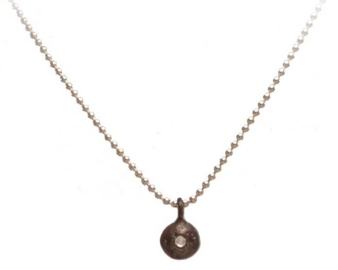 $165  SALVA NECKLACE  made from recycled silver with a 1.2mm diamond and oxidized finish. it hangs on a 16'' sterling silver ball chain necklace  sterling silver