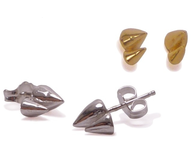 $85  DOUBLE SPIKE STUDS   measure 8mm x 4mm, and have a polished finish  sterling silver