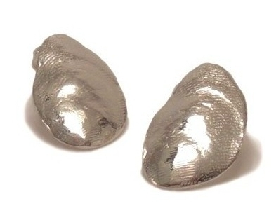 $95  SHELL EARRINGS   created from a thin piece of metal molded to resemble the shell of a  mussel, measure 13mm x 20mm   sterling silver