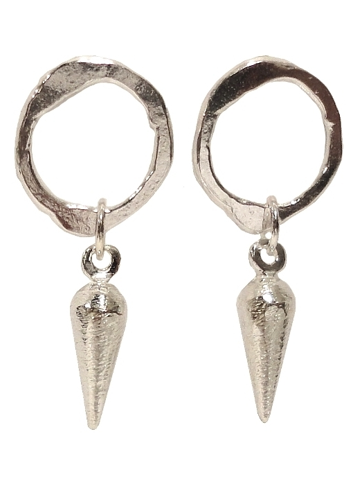 $125  PICCA EARRINGS  a combination of two of our designs, an organic circle stud suspends two spike drops