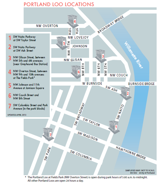 Map of Portland Loo Locations