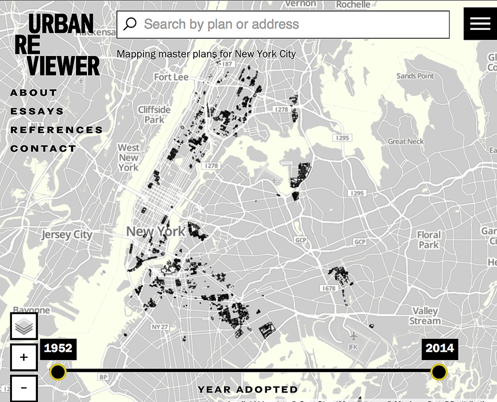 "Above is the home page of the Urban Reviewer website.  New York City blocks impacted by urban renewal are in bold.  The site has references, essays, and an ""about"" section that situates the work within a larger context.   Source:  www.urbanreviewer.org"