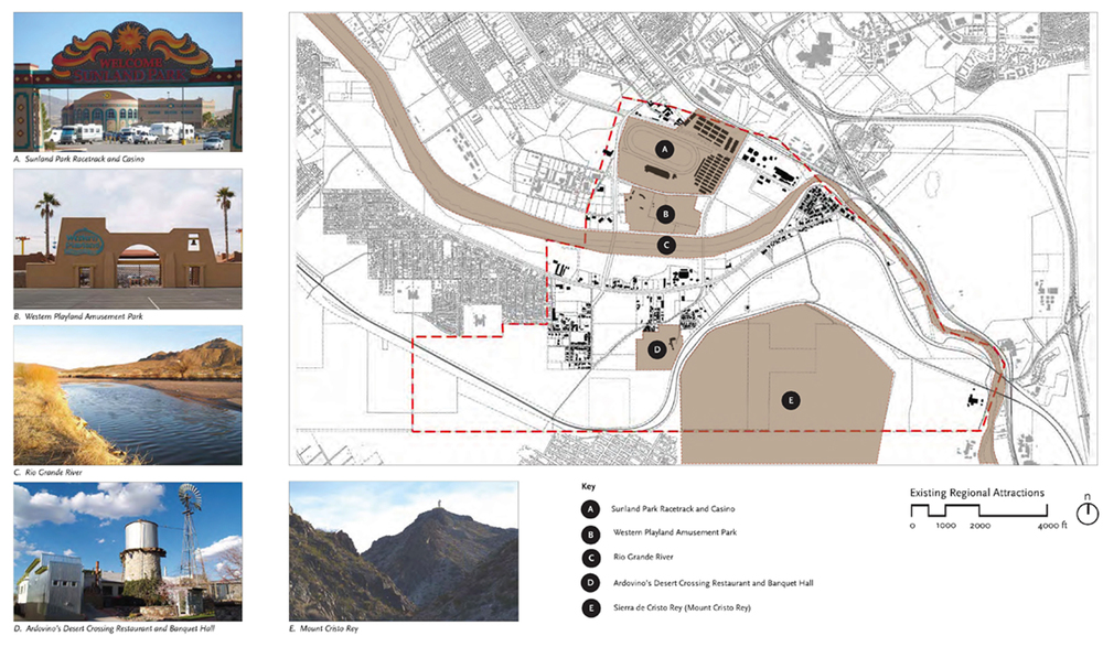 A starting point for the democratic process was the documentation of existing assets, such as the Rio Grande River and the Mount Cristo Rey, and finding ways to leverage those assets for the collective design of the new city.  Source:  Moule & Polyzoides Architects and Urbanists