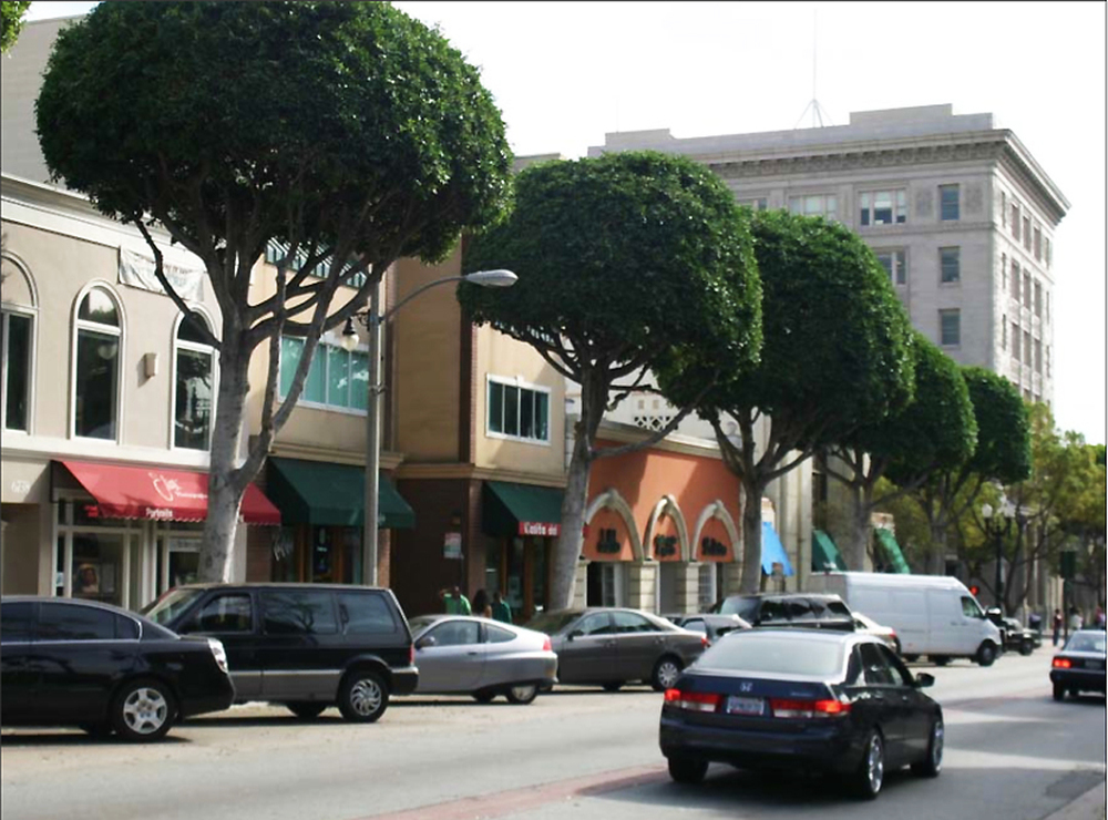 A key strategy that emerged in the design process was to build upon and further extend a core of walkable, mixed-use and compact urban fabric in Uptown Whittier, such as along Greenleaf Avenue.  Source:  Aseem Inam