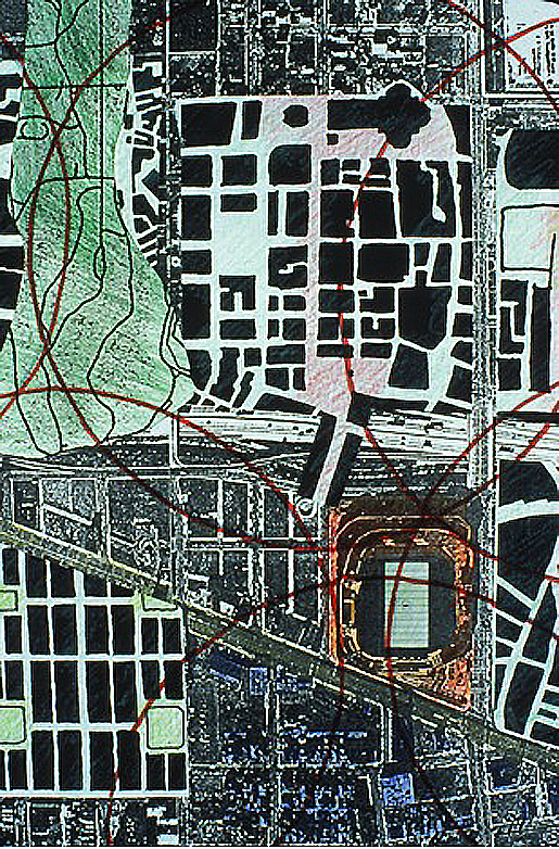 A mosaic of urban precincts from Boston, Florence and Savannah superimposed upon the project area in Detroit reveals its vast expanse and heterogeneous quality.  Source:  Team Two of the Michigan at Trumbull project
