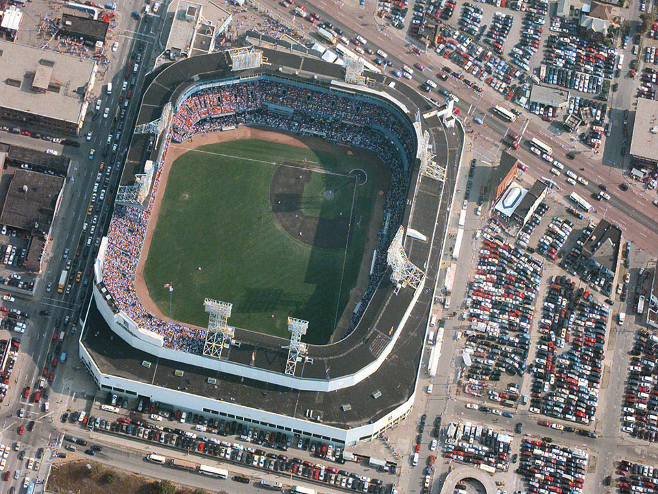 "An aerial image of the Old Tiger Baseball Stadium at the corner of Michigan Avenue and Trumbull Avenue and the surrounding area, before its was abandoned. Source:  Blog: ""The Woodlands Go To Birmingham 2013"""