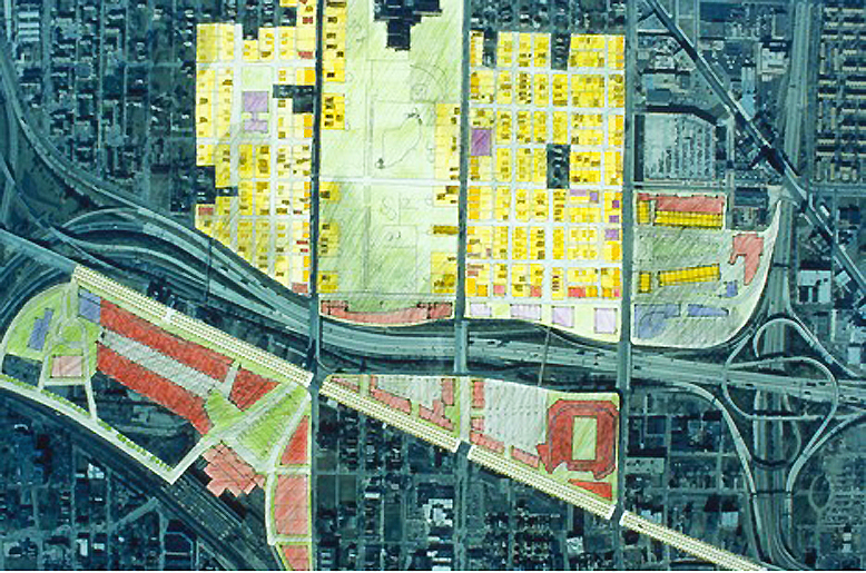 The site photomontage shows and mosaic of proposed large- and small-scale interventions, including the variegated green area on the top center, the higher density residential and casino related commercial on the right, and the regional magnet around a rehabilitated Michigan Station on the lower left. Source:  Team Two of the Michigan at Trumbull Project