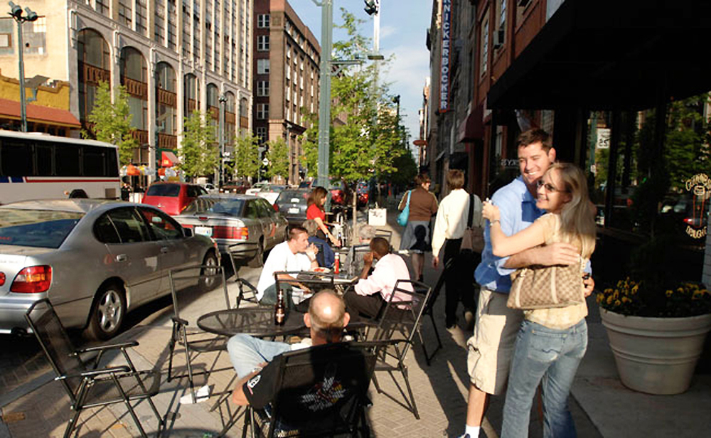 Washington Avenue has become a destination with residential and commercial development--especially cafes, bars, restaurants and stores--that activates the newly designed streetscape.  Source:  www.WRTdesign.com