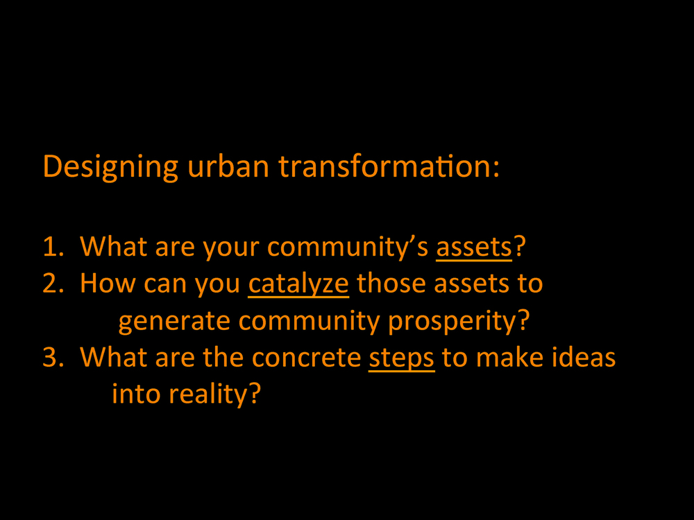 The three-step process of the workshop used questions to provoke individual and varied responses and strategies based on the unique context of each city [rather than imposing a top-down one-size-fits-all best-practices approach].  Source:  Aseem Inam