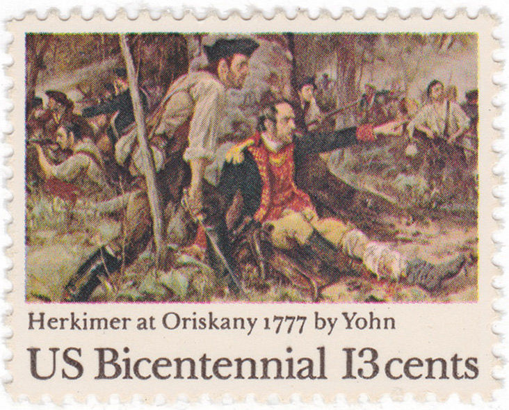A wounded Nicholas Herkimer commanding Patriot forces at Oriskany