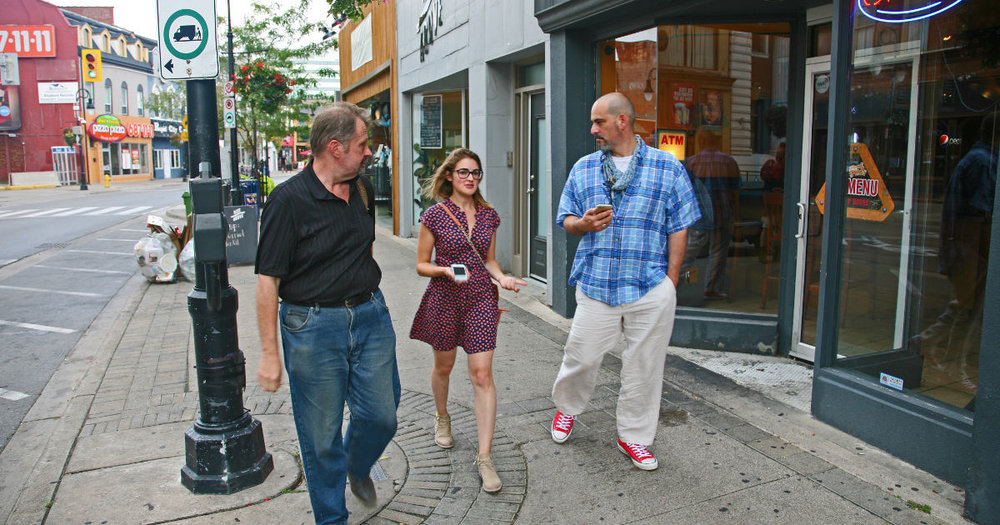 Franklin Vagnone (right) on a walking tour of the St. Catharines Heritage Corridor with Mr. Heritage, Brian Narhi (left) and JBHF's Theresa Felicetti (centre).