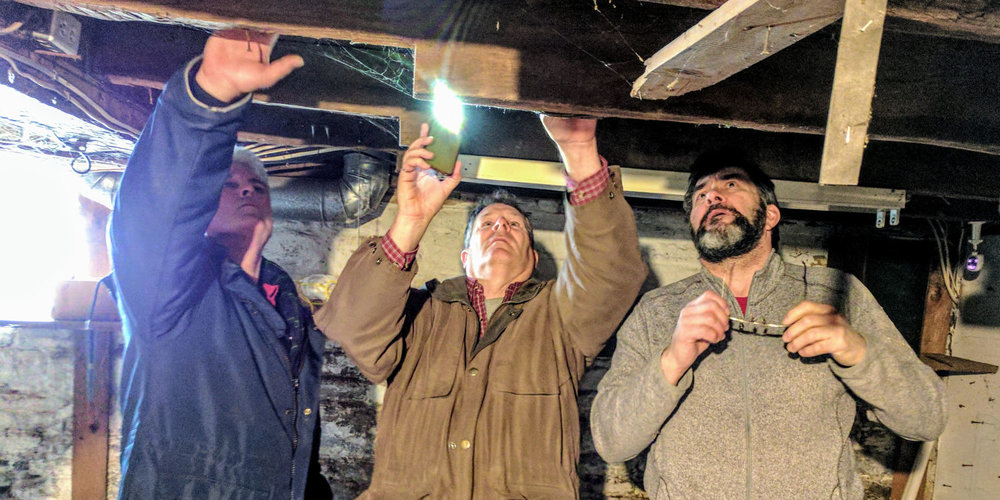 Heritage experts Chris Laverton, David Hobden and Tom Murison - determined to solve the puzzle of the early construction of the John Brown House