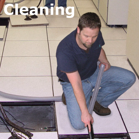 Critical Facilities Solutions specializes in all aspects of data center cleaning including under the raised floor, above the ceiling cleaning and equipment cleaning.