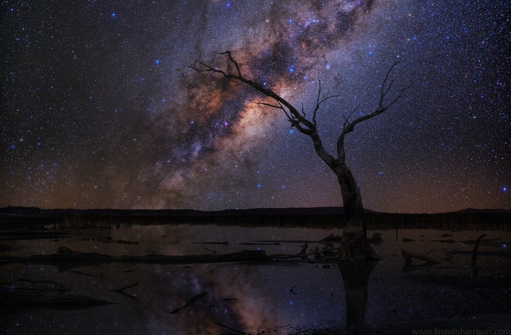 stars, milky way, night sky, galaxy, galactic center, nebula, night, lincoln harrison, long exposure, nightscape, starscape, reflection, astro, astrophotography, lake mokoan, winton wetlands