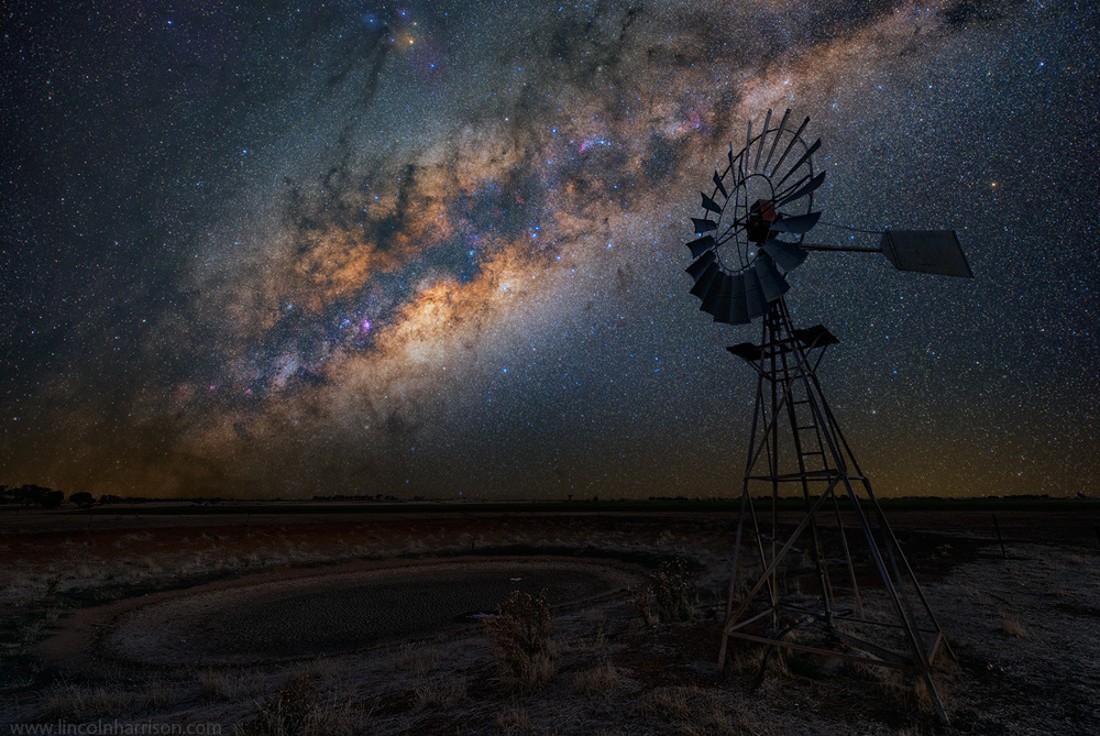 stars, milky way, night sky, galaxy, galactic center, nebula, night, lincoln harrison, long exposure, nightscape, starscape, windmill, australia, astro, astrophotography