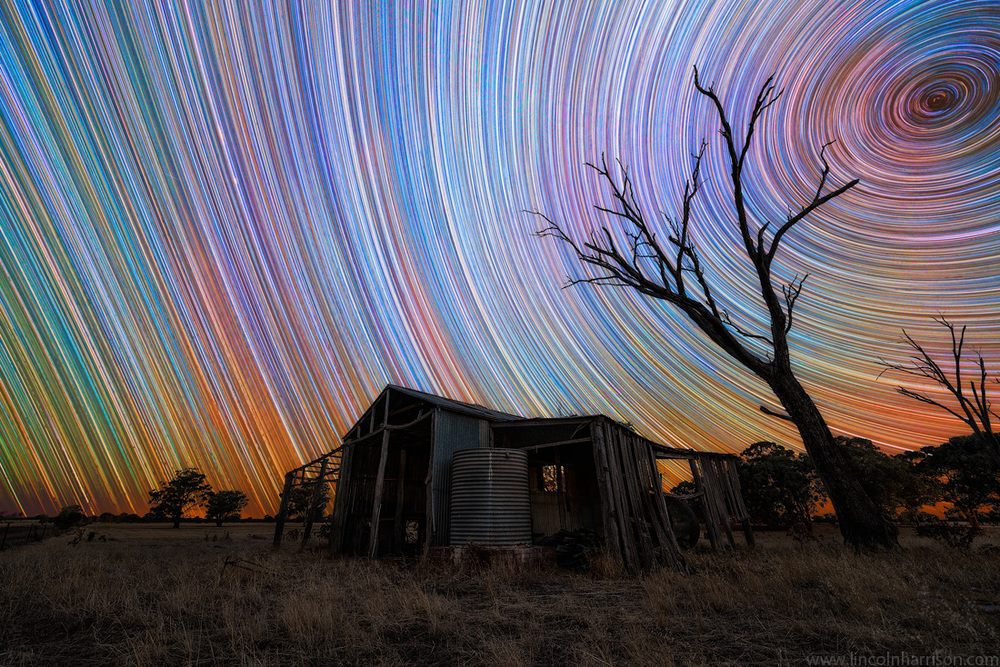stars, startrails, startrail, circumpolar, long exposure, nigh, night sky, galaxy, nebula, lincoln harrison, astrophotography, astro, barn