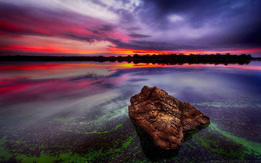 seascape, sunsrise, sunset, lincoln harrison, long exposure, lee filters, a new day, algae, lake eppalock