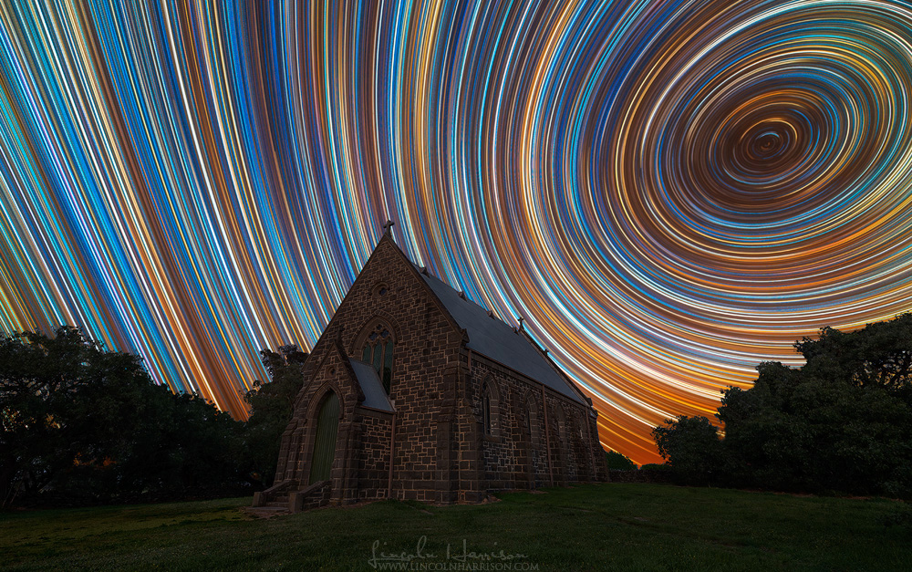 startrails over redesdale church