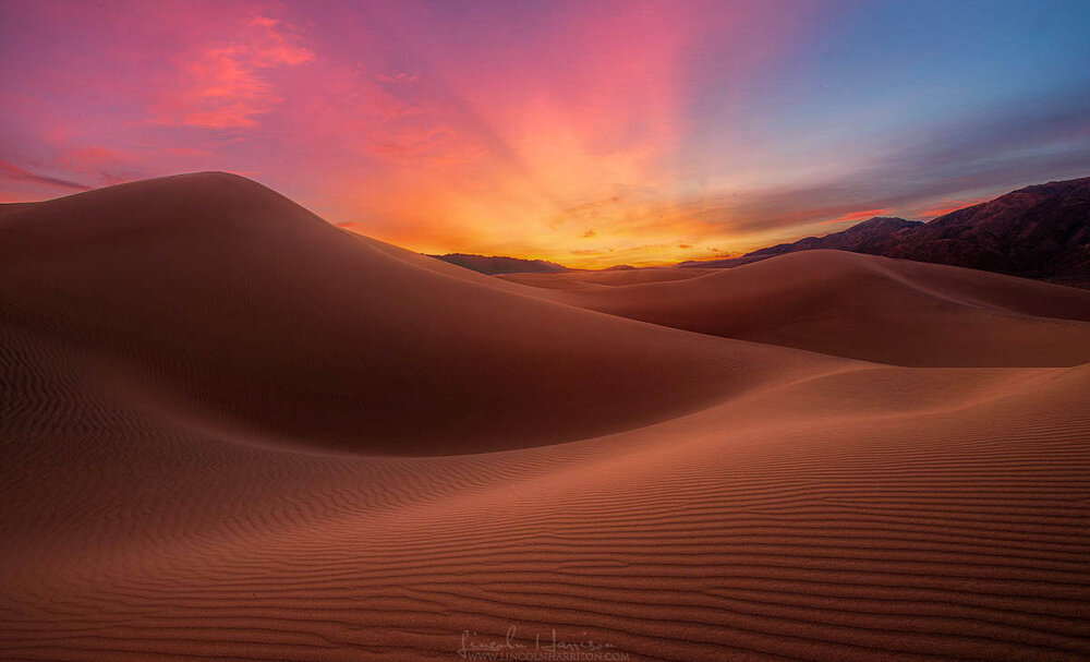 Sunrise over the Mesquite Dunes in Death Valley