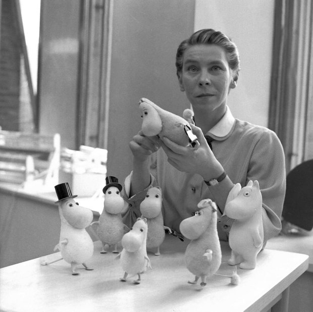 Tove Jansson with her Moomins in 1956. Photograph by Reino Loppinen.