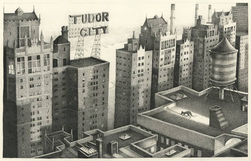 Tudor City, New York  - original pen & ink on paper