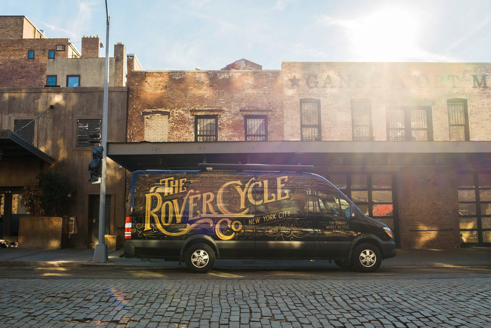 Custom type design for The Rover Cycle Company, New York City, mobile bicycle service