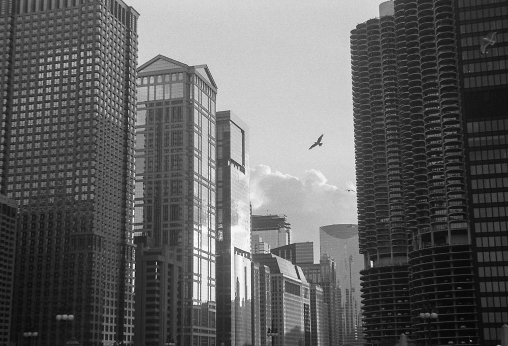 Above the Chicago Riverwalk Ilford HP5+