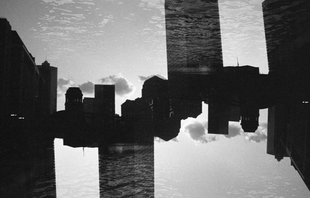 Chicago Riverwalk double exposure Ilford HP5+