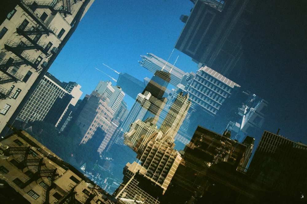 Double exposure from Public Chicago Hotel Kodak Ektar 100