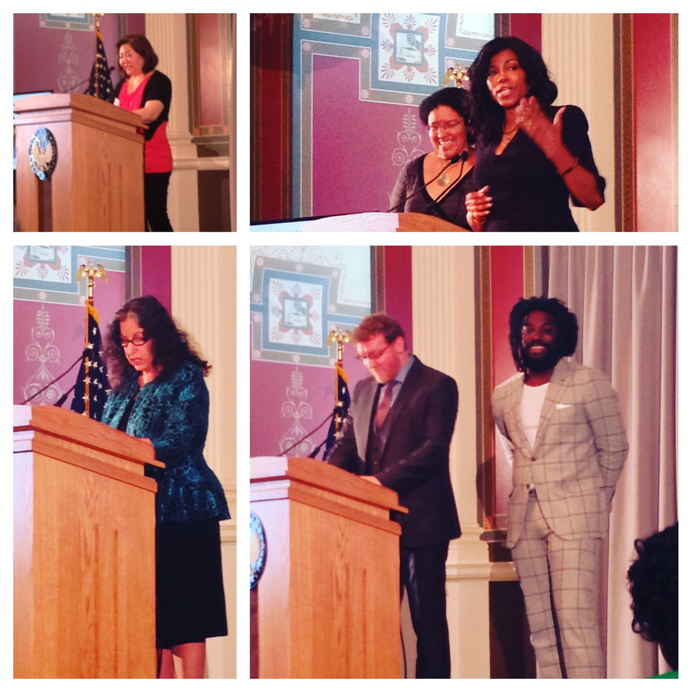 Ellen Oh, Ilyasah Shabbaz, Kekla Magoon, Margarita Engle, Brendan Kiely and Jason Reynolds speak at the We Need Diverse Books Walter Award ceremony at the Library of Congress.