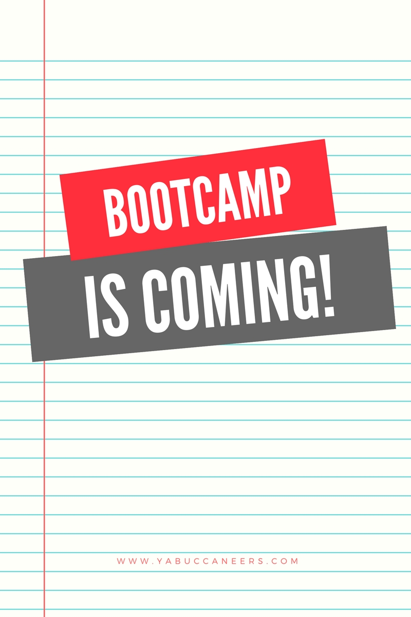 The YA Buccaneers Fall Writing Bootcamp is coming! Be sure to stop by www.yabuccaneers.com on Thursday, August 21st to sign up! This bootcamp is FREE, open to all writers, and you can work on any project. Join us!