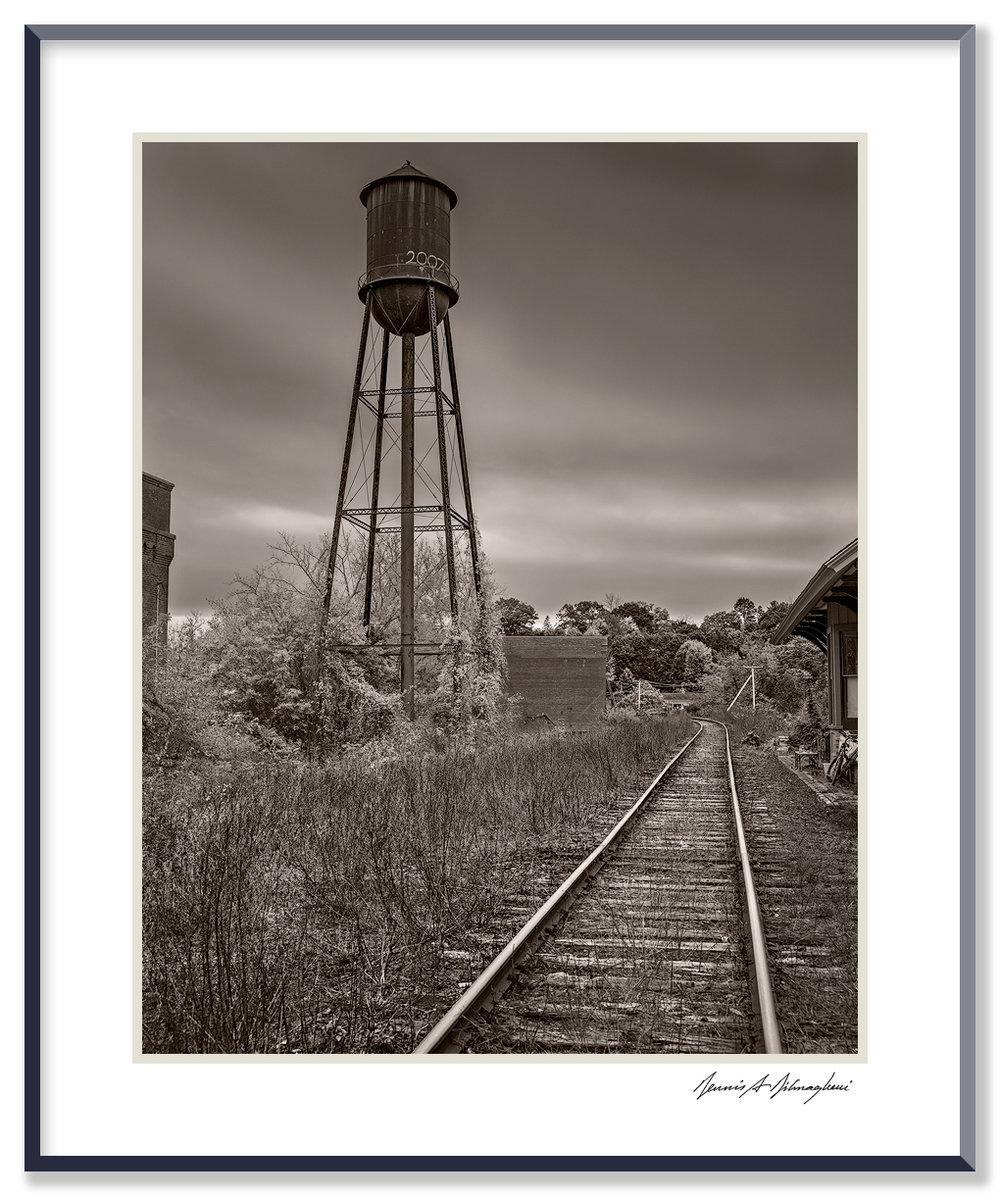 Water Tower - Housatonic, Massachusetts, ca 2015   Housatonic dates back to the 1800s and was formed around textile and paper mills. At its peak, Monument Mills, a textile manufacturer, occupied five factory buildings and employed 500. The mill closed in 1956.
