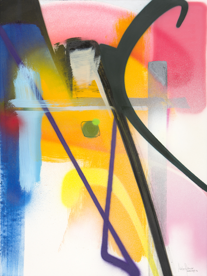 "Adrian Falkner / Smash137 Undefined Slope (2013) Spray Paint, Acrylic, Enamel, Ink, Oil Crayon on Handmade Paper 30"" x 22"" (Framed)"