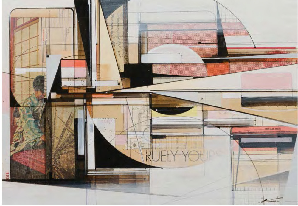 Truly Yours, (2014) Found Paper, Acrylic and Ball Point Pen on Wood Panel Finished in Matte Varnish Framed in Mahogany Lattice and Found Vintage Yardsticks 14.5 x 20.5 x 1.75 Inches $2,200
