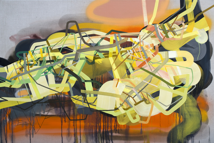 """Burning River"" (2014) Oil, Ink and Spray Paint on Clear Primed Linen 48"" x 72"" (122 cm x 183 cm) $7,000"