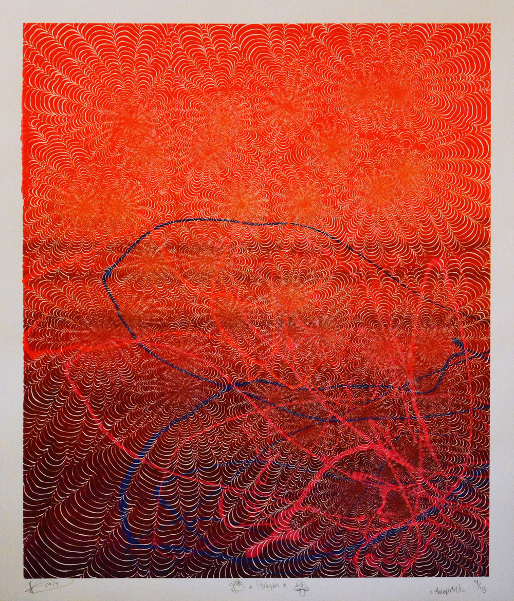 """Psilocybin"" (2014) Silkscreen on Cotton Rag 40.25"" x 46.74"" (102 cm x 119 cm) Monoprint $2,000"