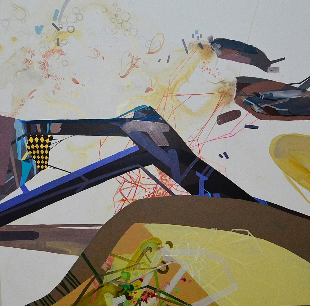 """The Station"" (2012) Oil, Acrylic, Ink and Marker on Cradled Wood Panel 30"" x 30"" (76 cm x 76 cm) $2,600"